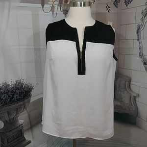 Lane Bryant Black & White Colorblock Blouse